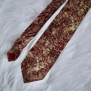 Valentino Red and Gold Silk Tie